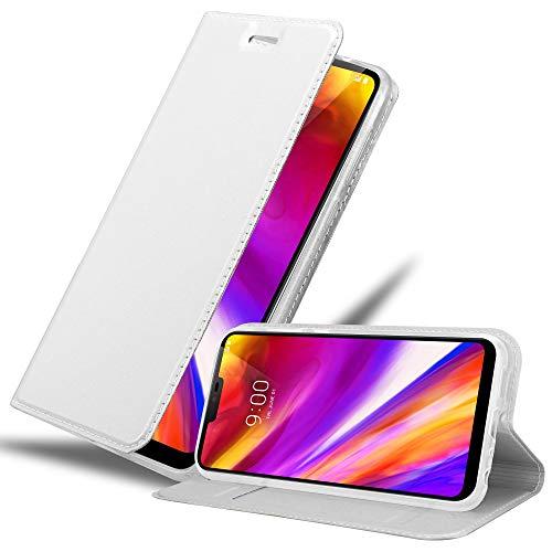 Cadorabo Hülle für LG G7 ThinQ in Classy Silber - Handyhülle mit Magnetverschluss, Standfunktion & Kartenfach - Hülle Cover Schutzhülle Etui Tasche Book Klapp Style