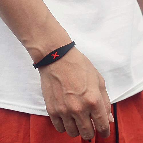 AMZ color de doble cara pulsera de la energía mágica hacha días MF marca Tide Parkour silicón del anión de la aptitud banda de la muñeca for los hombres y mujeres de baloncesto . ( Color : Pink Gray )