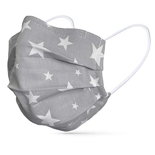 tanzmuster ® Gesichtsmaske für Kinder - Stoffmaske mit Nasenbügel und Filtertasche - Alltagsmaske waschbar - 100% Baumwolle OEKO-TEX Standard 100. Hauchdünn grau mit Sternen S