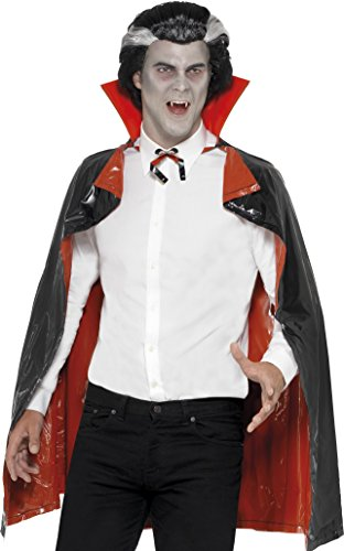 Smiffys Cape vampire réversible PVC, Rouge & Noir, avec col, 114 cm/45 in