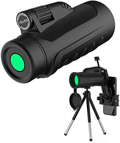ZUOAO Telescopio monocular HD de 16 x 50 con Adaptador móvil y Soporte, Impermeable y a Prueba de Golpes para Acampar, jardín, Naturaleza, Animales, observación de Aves