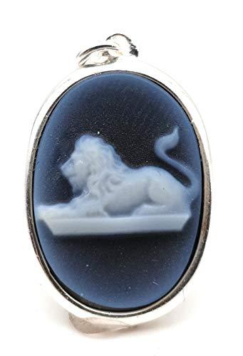 Sternzeichen Anhänger 'Löwe' aus 925er Silber mit Achat Gemme