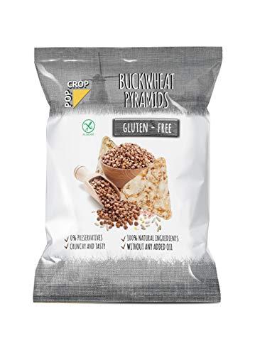 Gryka w piramidki POPCROP, 10 x 80 g | Chrupiące chipsy pieczone z kaszy gryczanej, ryżu, prosa i soli himalajskiej (Punjab-Pakistan) | NIESMAŻONE | Bezglutenowe, wegańskie, czyste