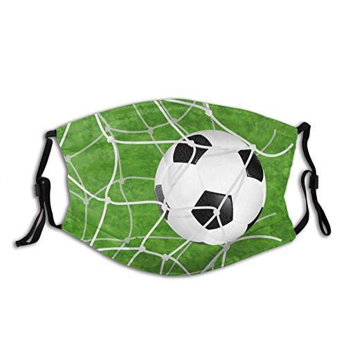 Fotboll ansiktsmask återanvändbara tvättbara bandanas med justerbara öronslingor mode halsdukar för vuxna med 2 st filter fotboll i nätet)