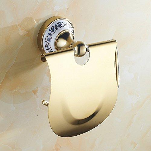 A Hardware Bad blau und weiß Porzellan vergoldet Toilettenpapier Papier Papier Handtuch Rahmen Silber Papier Handtuch Toilette Toilettenpapier Box (Farbe : Gold)
