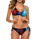 Bikini traje de baño para mujer rojo azul llamas dos piezas traje de baño señora halter parte inferior playa fiesta tiras ropa de baño, Blanco-estilo1, S