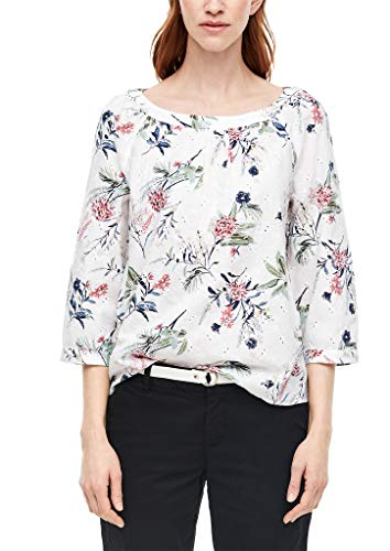 s.Oliver RED Label Damen Bluse mit Lochstickerei White AOP 38