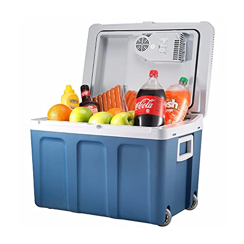 Electric Cooler and Warmer for Car and Home with Wheels - 48 Quart (45 Liter) Holds 60 Cans or 6 Two Liter Bottles and 15 Cans - Dual 110V AC House and 12V DC Vehicle Plugs
