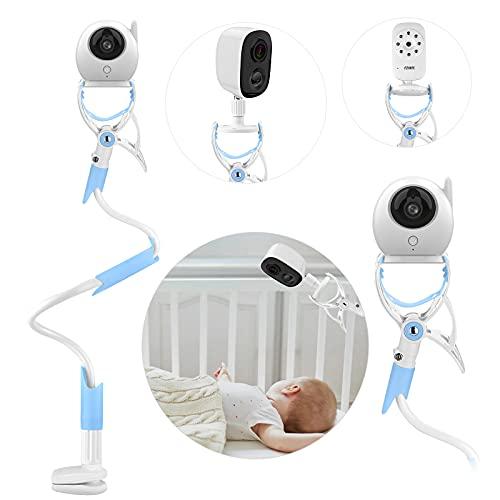 MYPIN Soporte Cámara de Bebé,Soporte Vigilabebés para Cuna Ajustable sin Perforación, Giratorio de 360 °,Compatible con la Mayoría de Vigilabebés/Teléfonos Móviles (Azul)