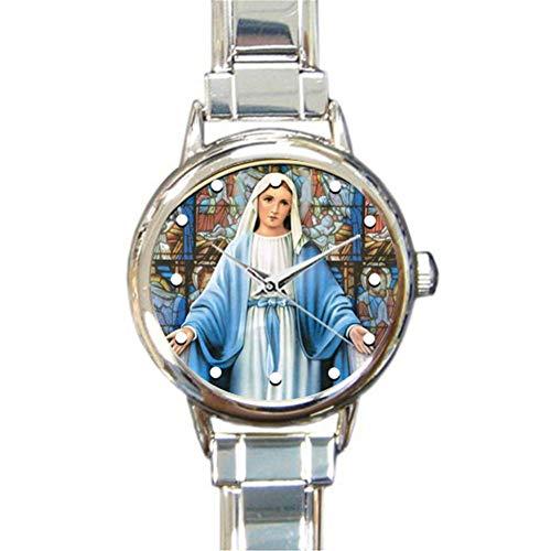 Diseño Especial de la colección Renaissance, Santa y milagrosa Madre de Dios, Bendita Virgen María, Regalo religioso católico Redondo Italiano