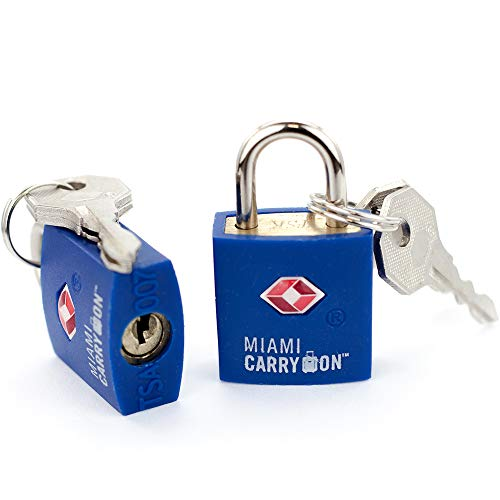 TSA Approved Padlock - Miami Carry On - Best TSA Keyed Luggage Lock, 0.9 Inch Wide - Keyed Different - Dark Blue (2 Pack)