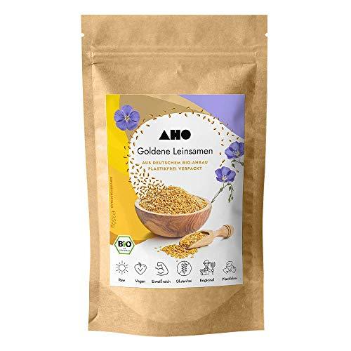 AHO Goldene Leinsamen aus deutschem Bio-Anbau 350g | 100% Plastikfrei, Regional, Öko | Lokales Superfood (350g)