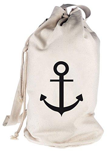 Shirtstreet24, ANKER, Kapitän Seefahrt Schiff bedruckter Seesack Umhängetasche Schultertasche Beutel Bag, Größe: onesize,natur