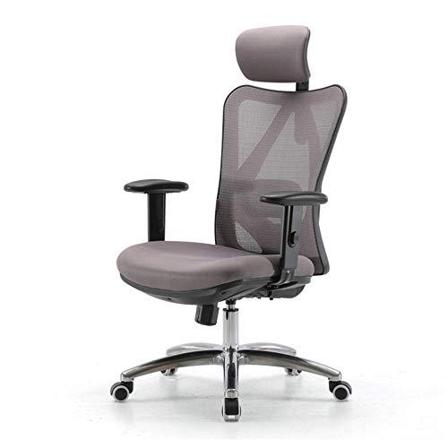 WSDSX Schreibtischstuhl Weiss,Ergonomischer Schreibtischstuhl, Drehstuhl hat Verstellbarer Lordosenstütze, Kopfstütze und Armlehne, Höhenverstellung und Wippfunktion, Rückenschonend