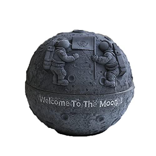 FJXJLKQS Cenicero con Tapas Astronaut Resin Moon Planet con Tapa Space Dream Series Style Cenicero de Dibujos Animados para La Decoración del Hogar,D
