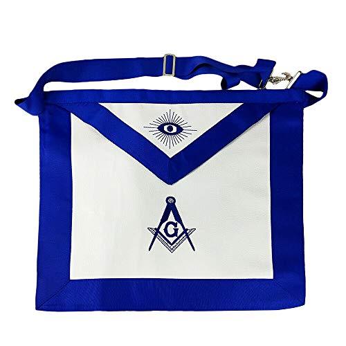 Masonic Regalia Blue Lodge Master Mason Apron Embroidered Square & Compass Faux Leather