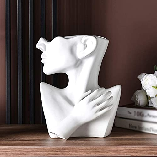 Jarrones Encimera Creativo Simple Arte Retrato Sala de Estar Arreglo de Flores Cerámica Personalidad Decoración de la casa Adornos Blanco XMJ