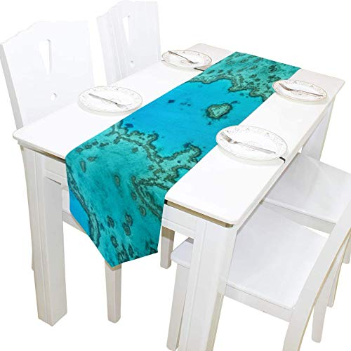 BONRI Australia Gran Barrera de Coral Coral Tocador Mantón Cubierta de Tela Camino Mantel Mantel Individual Cocina Comedor Sala de Estar Hogar Boda Banquete Decoración Interior , 13 * 70in,13 * 70in