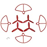 Fytoo 4pcs Three-bladed Propeller + 4pcs Protective Cover for MJX B5W F20 Bugs 5W Four-axis Aircraft UAV Protection Cover & Paddle Spare Parts (Red)