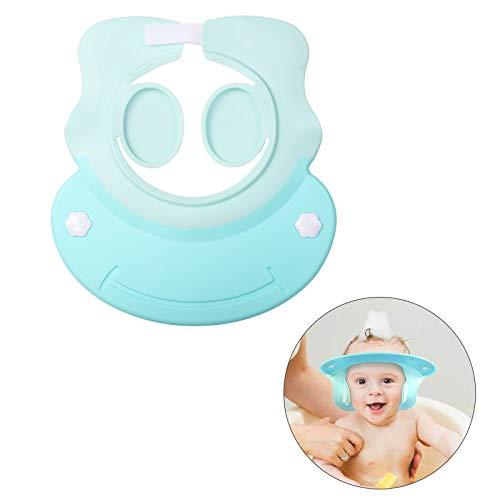 KATOOM Doccia Cap per Bambino,Cappello da doccia per bambini Design di protezione dell'orecchio Evitare lo shampoo Prevenire l'acqua dai loro occhi e viso(Blu)...