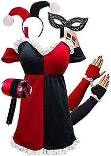 Sanctuarie Designs Plus Size HarleQuin Costume Dress + Harley Quinn Halloween Accessories Deluxe Kit