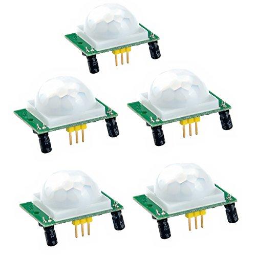 PIXNOR 5pcs PIR infrarouge pyro-électrique Motion Sensor détecteur Module HC-SR501 5-20V DC