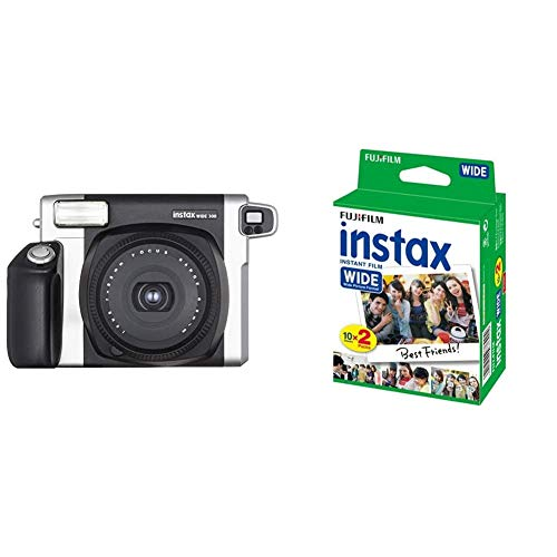 Fujifilm Instax Wide 300 Fotocamera Istantanea, per Foto Formato 62x99 mm, Nero/Argento & Instax Wide Film Pellicole Instantanee per Fotocamere Instax Wide, 20 stampe (2 pacchi da 10)