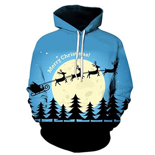 SHE.White Weihnachten 3D Druck Unisex Hoodies Casual Kapuzenpullover Langarm Elk Druck Pullover Kapuzenpulli Sweatshirt Kapuzenjacke S-4XL