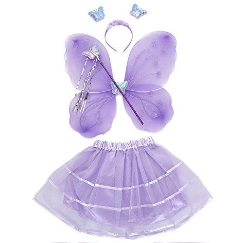 TOOGOO Chica 4 unids Grupo Princesa Brillo Mariposa Partido Traje alas Varita Diadema Tutu Falda de Hadas (3-10anos) Purpura