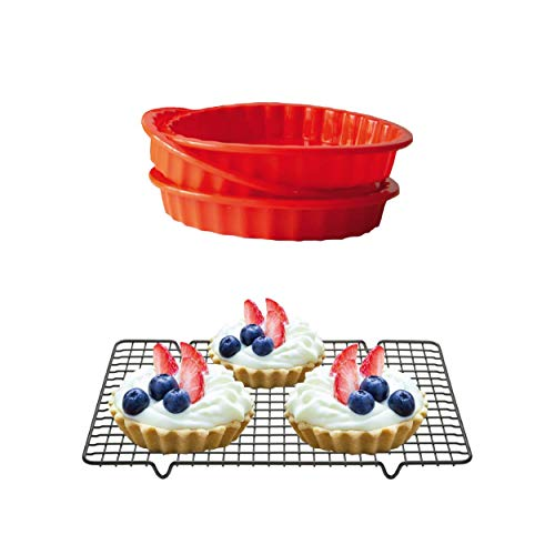 Silicone Mini Round Pie Pan  NonStick Silicone  Dishwasher and Microwave Safe  Set of 3