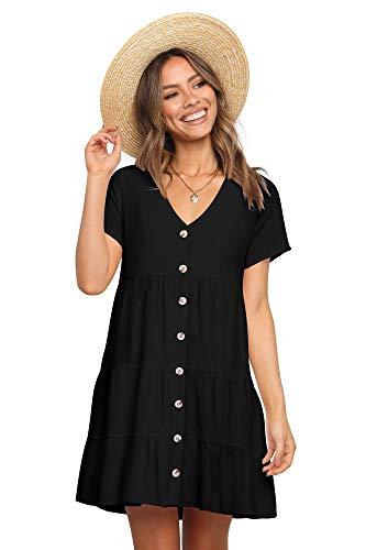 Amoretu Womens Summer Tunic Dress Short Sleeve Shift Swing Dresses Black S