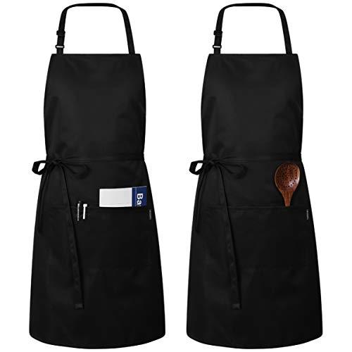 Hemoton 2 Stücke Schürze Kochschürze Küchenschürze Verstellbare Schürze mit 2 Taschen Und Extra Langen Bindungen für Küche, Restaurant, Café, Schwarz, 32 * 27 Inch