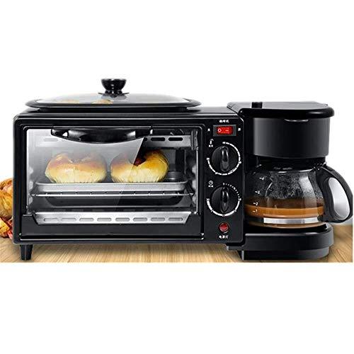 VIWIV Toastie Maker Breakfast Maker Toaster Multifunction Breakfast Center W/Toaster Oven Griddle & Coffee Maker Black Breakfast Station (Color : Black, Size : 45.5x18x20.5CM)