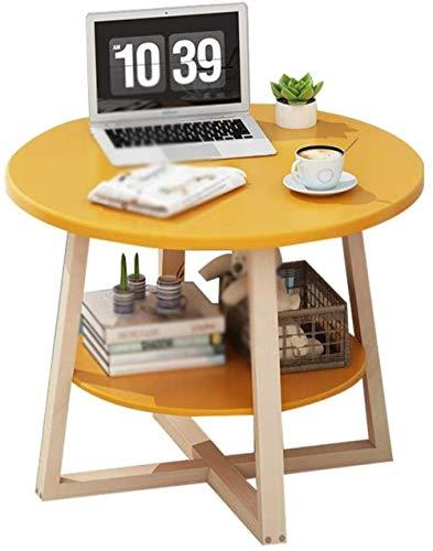HXF- Tabla del Lado del Sofá Pequeña Mesa De Café Salón Mesa Redonda Mesa Móvil Estante del Café del Café Mesa De Almacenamiento De Tablas Durable (Color : Yellow, Size : 50 * 60cm)