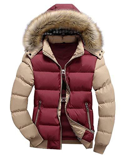 Winterjacke Herren Wattierte Steppjacke Mantel Mit Jacken Jungen Pelzkapuze Langarm Fashion Verdicken Warme Winter Steppmantel Outwear (Color : Kaki 1, Size : XL)