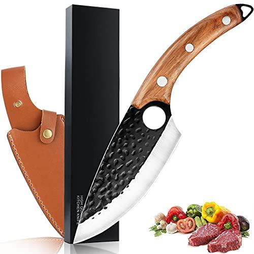Kochmesser Küchenmesser mit Lederscheide - 6zoll Professionell Handgeschmiedet Antihaft-Ausbeinmesser, Hackmesser Outdoor-Messer für Grill mit Geschenkbox(Farbe : Brauner Griff)