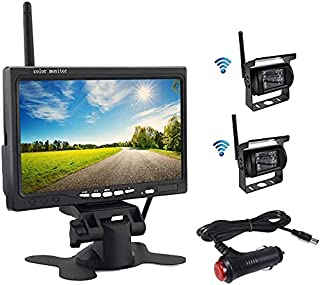OiLiehu Wireless Backup Camera and Monitor Kit, 7 inch HD LCD Monitor with Antenna, 2 x Wireless Rear View Camera, IP67, Night Version, 12-24 V, Suitable for Buses, SUVs, Trucks, Trailers