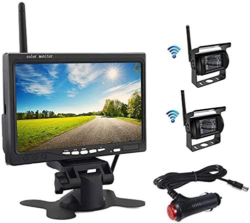"""OiLiehu Kit Telecamera Per Retromarcia Wireless,Monitor LCD HD da 7"""" Con Antenna,2 X Telecamera Per Retromarcia Wireless,IP67,Versione Notturna,12-24 V,Adatto Per Autobus,SUV,Camion,Rimorchi"""
