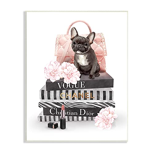 Stupell Industries French Bulldog Pink Peonies Glam Fashion Bookstack, Designed by Ziwei Li Wall Plaque, 13 x 19, Multi-Color