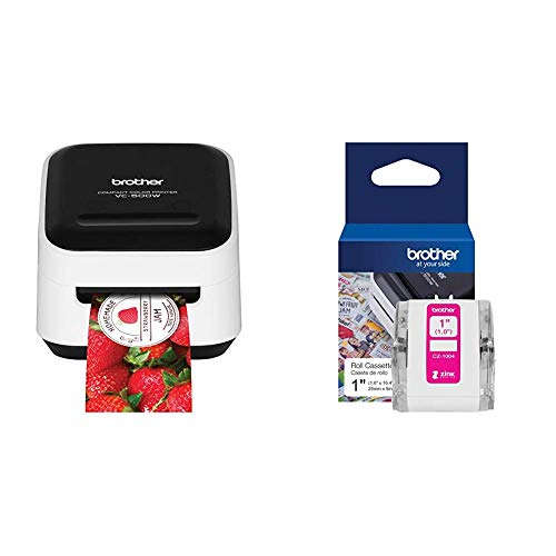 """Amazing Deal Brother VC-500W Versatile Compact Color Label and Photo Printer with Wireless Networking & Genuine CZ-1004 Continuous Length 1"""" (1.0"""") 25 mm Wide x 16.4 ft. (5 m) Long Label Roll"""