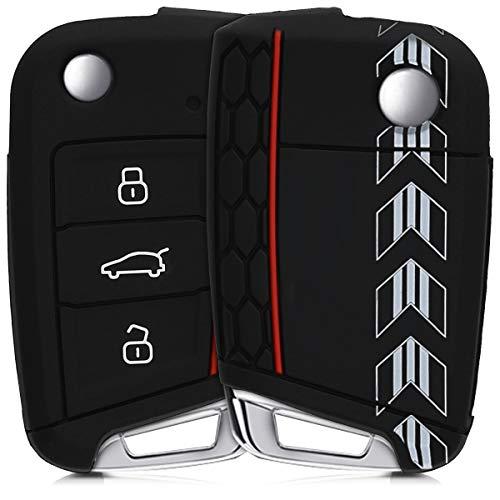 kwmobile Cover Chiave Compatibile con VW Golf 7 MK7 con 3 Tasti - Guscio Protettivo coprichiave Morbido Silicone TPU - Racing Rally Nero/Bianco/Nero