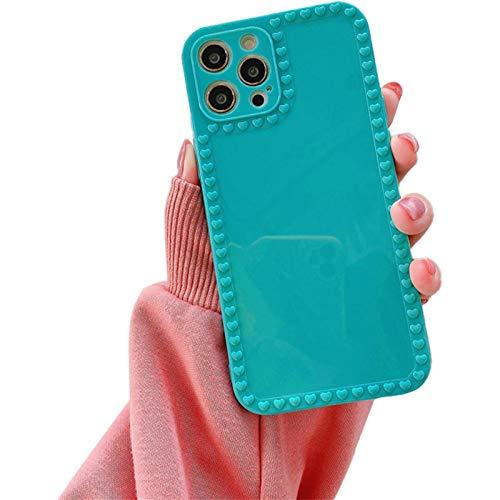 TIANLU Estuche para teléfono para iPhone 11 Cuadrado, 3D Love Heart Shape y Bow Knot Estuche protector para teléfono femenino para mujeres(Verde/Para iphone11 Pro)