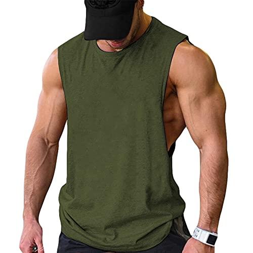 COOFANDY Camiseta sin mangas para hombre, 2 unidades, para el gimnasio, culturismo, musculatura, Verde militar (1 unidad)., S