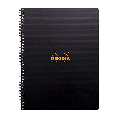 Rhodia 119900C - cahier à spirale Notebook 160 pages détachables perforées 9 trous 22,5x29,7 cm 90g petits carreaux avec marge et cadre + une règle et 6 marques pages numérotés
