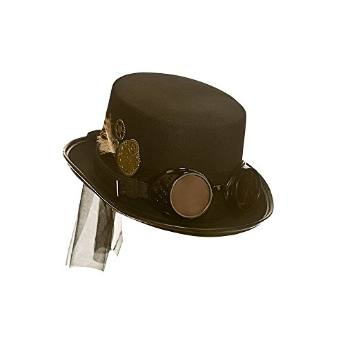 Adult Unisex Black Steampunk Hat with Goggles One Size Fits Most Ideal finishing touch to your costume! Wicked Costumes