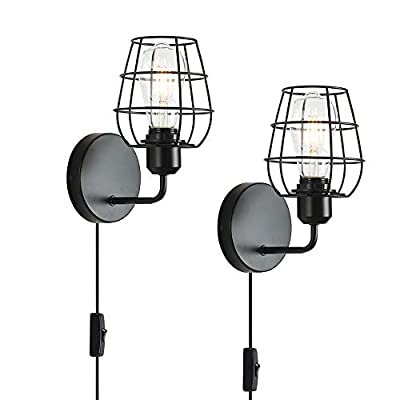 2 Pack Rustic Wall Sconce with Plug in Cord and Toggle Switch, Black Metal Cage Industrial Wall Lamp Light Fixture for Headboard Bedroom Farmhouse Garage Porch Bathroom Vanity