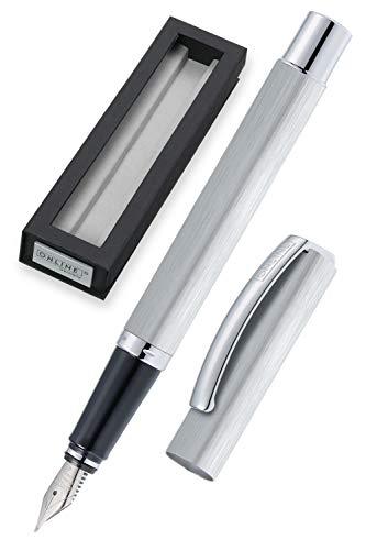 ONLINE Füller Vision Silver, Füllfederhalter mit klarem Design, matt gebürstetes Aluminium, Iridium-Feder M, für Standard-Tintenpatronen und Konverter geeignet, Geschenkverpackung | Farbe: silber
