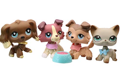 NA USA LPS Shorthair Cat 391 Grey LPS Collie 1262 893 Red Tan LPS Cocker Spaniel 960 Chocolate Dog Figure Puppy with Accessories Lot Kids Collection Gift