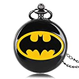 GAOFQ Batman Reloj de Bolsillo DC Comics Redondo Negro Cuarzo Relojes de Bolsillo Collar Regalo para niños niñas