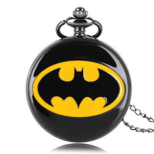 GAOFQ Batman Taschenuhr DC Comics Runde Schwarze Quarz Taschenuhren Halskette Geschenk für Jungen Mädchen